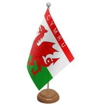 CYMRU (WALES) - TABLE FLAG WITH WOODEN BASE